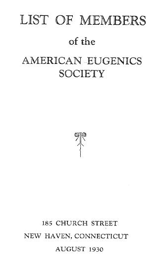 Cover of American Eugenics Society's 1930 membership list