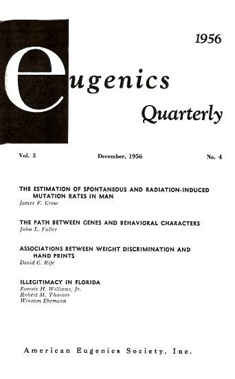 A 1956 issue of <em>Eugenics Quarterly</em>