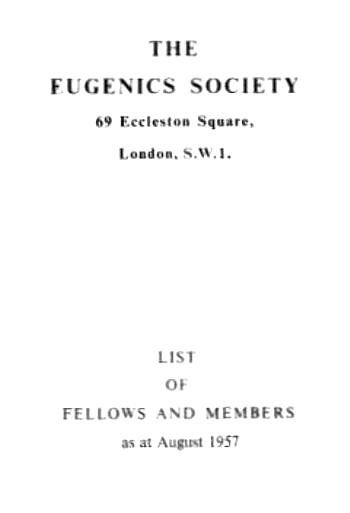 Cover of 1957 membership list of England's Eugenics Society