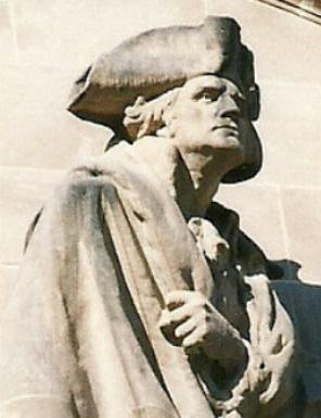George Washington portrayed in the Princeton Battle Monument, Princeton, N.J.
