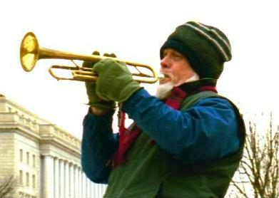 Bugler on winter day