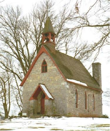Country church after a snow