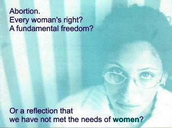 A Feminists for Life brochure suggests that abortion shows we haven't met women's needs