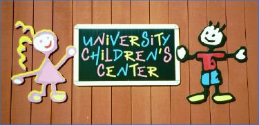 Colorful sign of the University Children's Center, Frostburg State University (Md.)