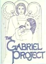 Logo of Gabriel Project, with Angel Gabriel in background and mother and child in foreground