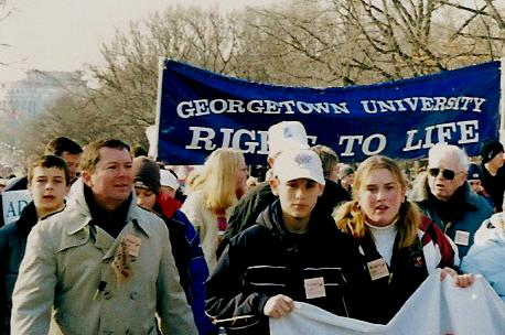 Georgetown University Right to Life banner and marchers at the  March for Life