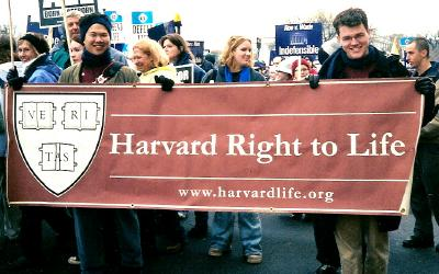 Students with Harvard Right to Life banner at the March for Life