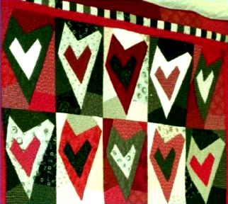 Quilt with hearts pattern