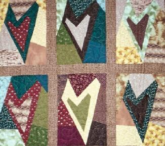 Quilt in hearts pattern