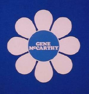 Daisy sticker with 'Gene McCarthy' in center, widely used in 1968 McCarthy campaign