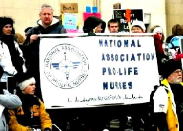 Nurses with banner: 'National Association Pro-Life Nurses'