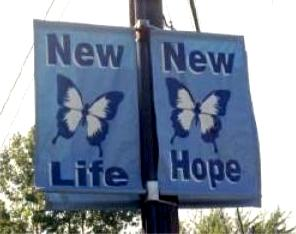 Twin blue banners with butterfly picture; one says 'New Life,' and the other 'New Hope'