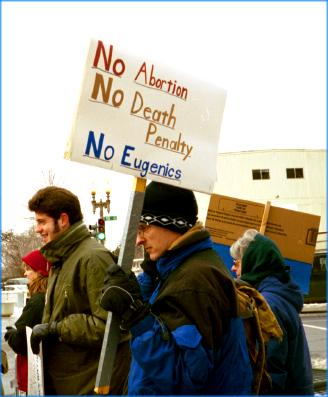 Sign at March for Life:  'No Abortion/No Death Penalty/No Eugenics'