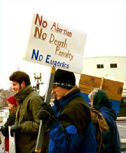 Sign at March for Life: 'No Abortion/NoDeath Penalty/No Eugenics'