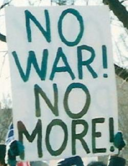 Sign at antiwar march: 'No War! No More!'