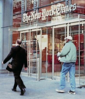 Entrance to <em>New York Times</em> building