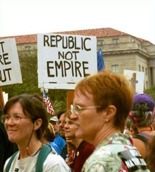 Antiwar marchers with 'Republic/Not Empire' sign